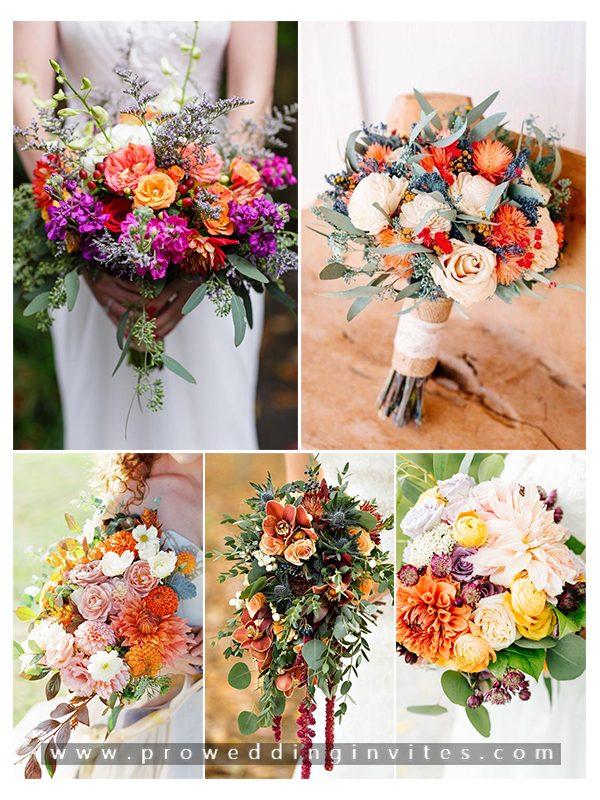 Vibrant Fall Bridal Bouquets