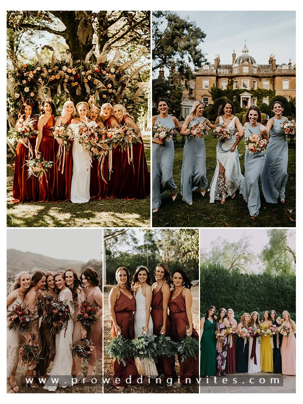 Autumn Wedding Colors Trends for Bridesmaid Dresses with Matching Invitations