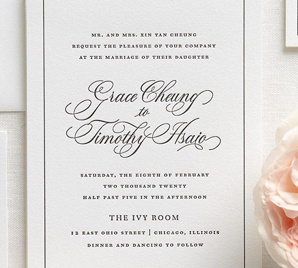 Formal Wedding Invitation Wording Used