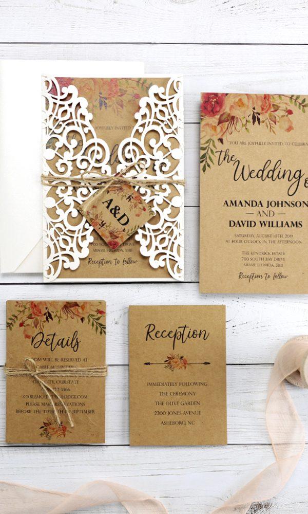Six Rustic Wedding Invitations for Shabby Chic Weddings in 2020