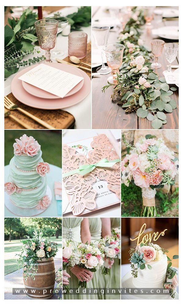 Green And Pink Rustic Wedding Ideas With Matching Wedding Invitations