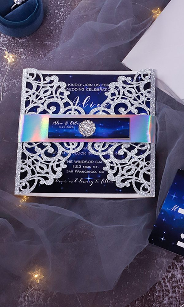 Eight Gorgeous Modern Layered Wedding Invitations with Buckles