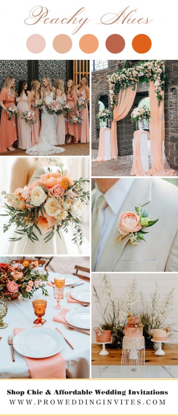 Peachy hue wedding invites