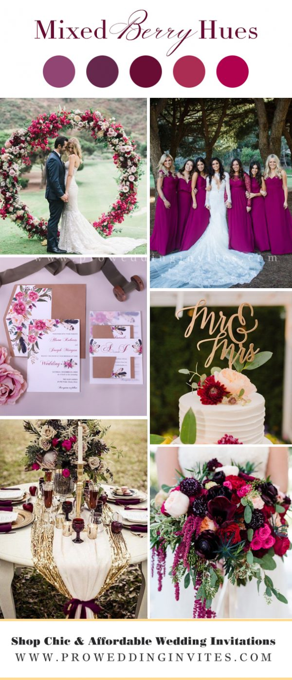 Bold berry hues wedding colors
