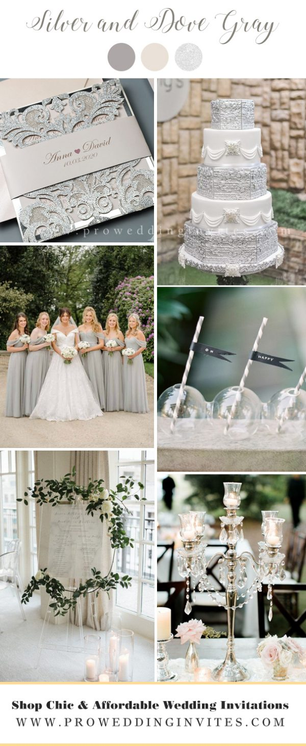 Silver and Dove Gray wedding colors