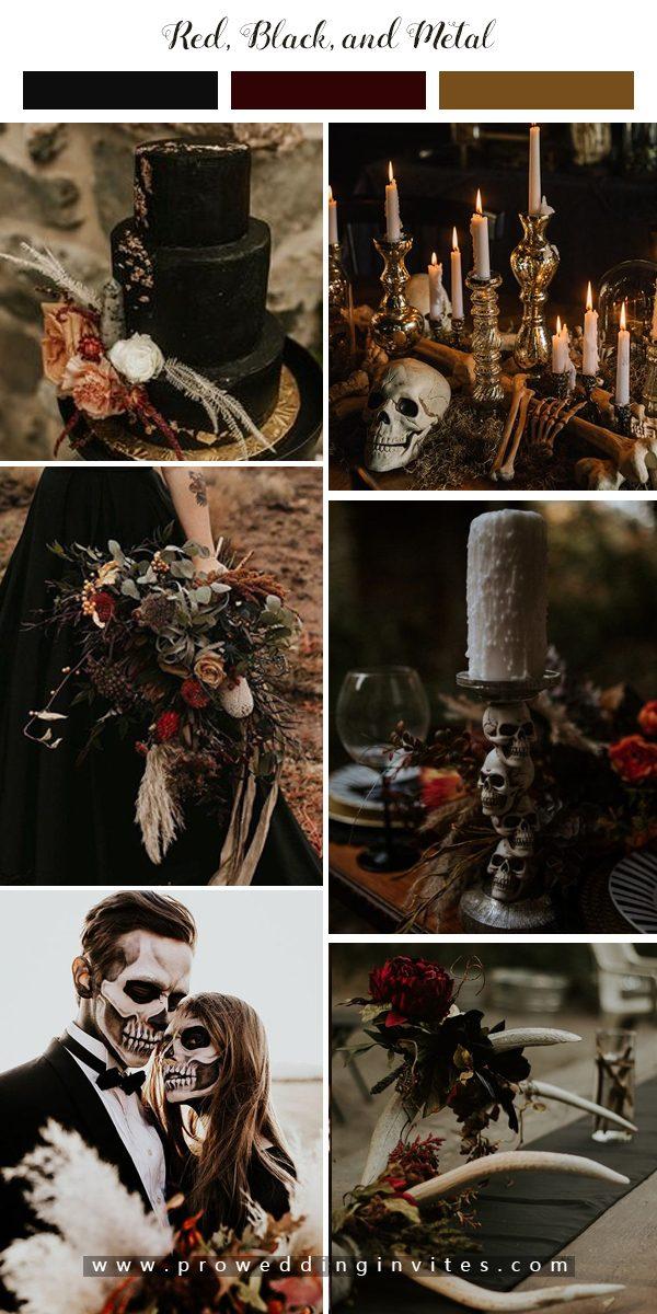Halloweem wedding met red, black, and metal