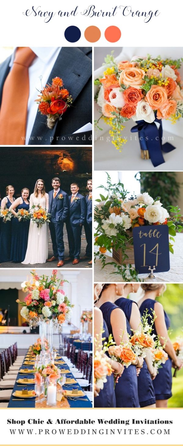 Navy and Burnt Orange wedding colors