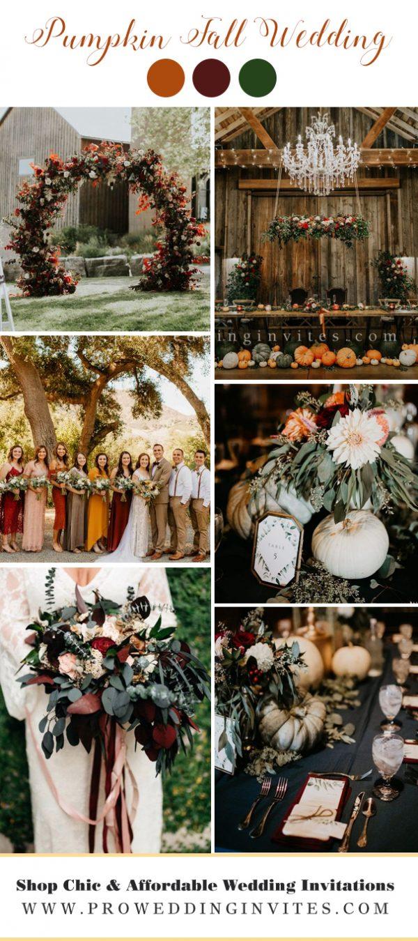 Pumpkin, sage, and red wedding