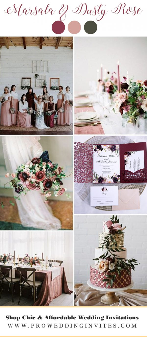 Marsala & Dusty Rose fall wedding colors