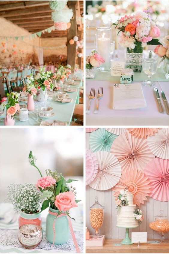 Dusty pink, mint green, and gray wedding colors