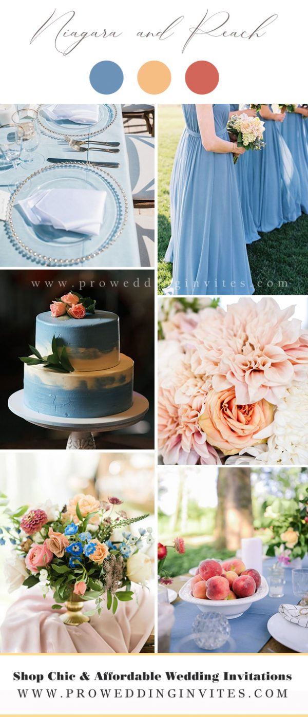 Niagara and Peach Wedding Colors for Spring 2021