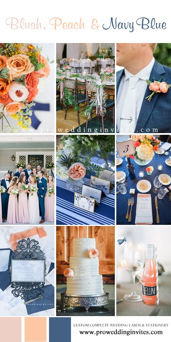 Blush, peach and navy blue wedding colors