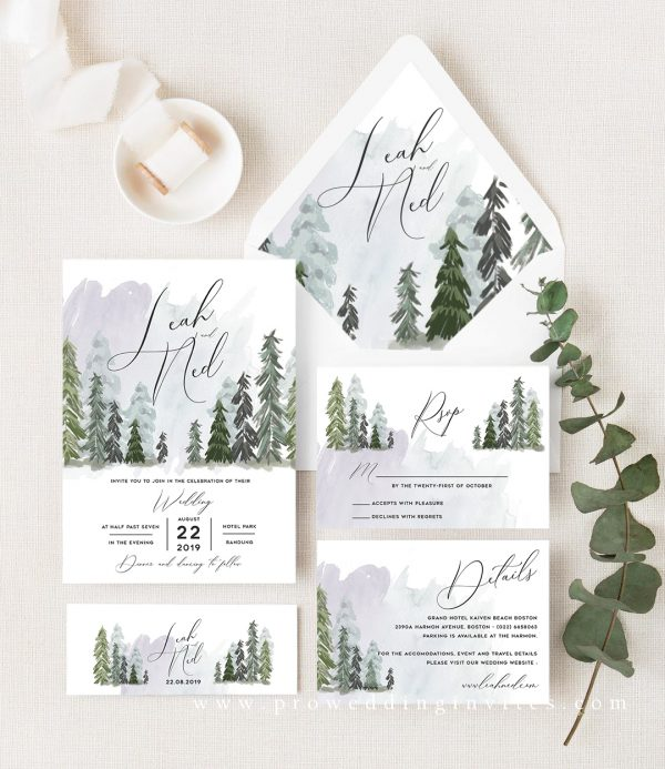 Greenery Wedding Invites for Spring 2021