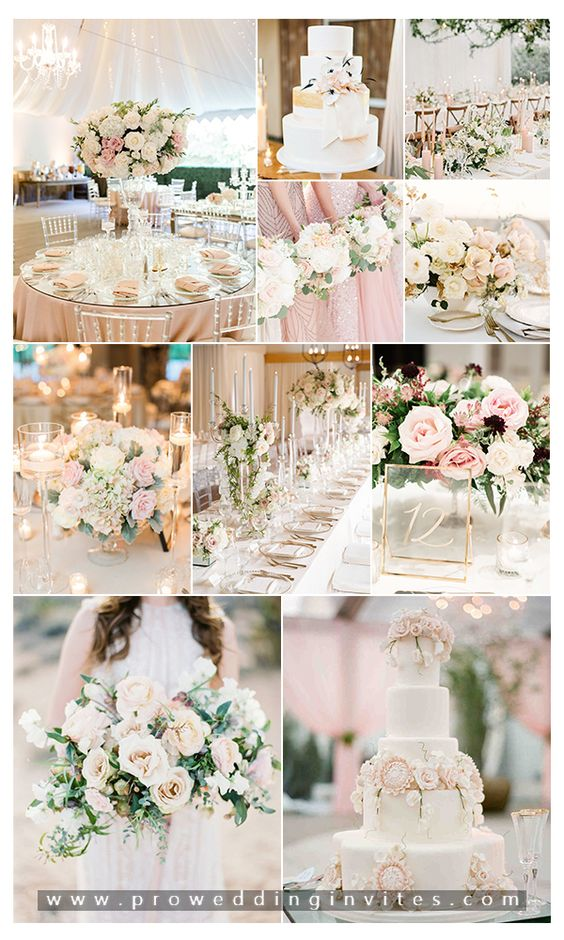 Blush and ivory neutral wedding color combos wedding