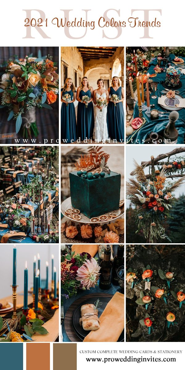 Dark Teal and Rust Orange Wedding Color Ideas for Fall