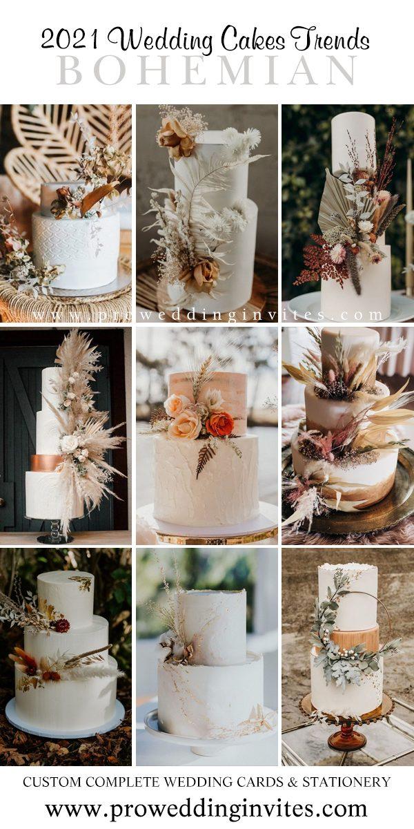 Free-Spirited Bohemian Wedding Cake Trends In 2021