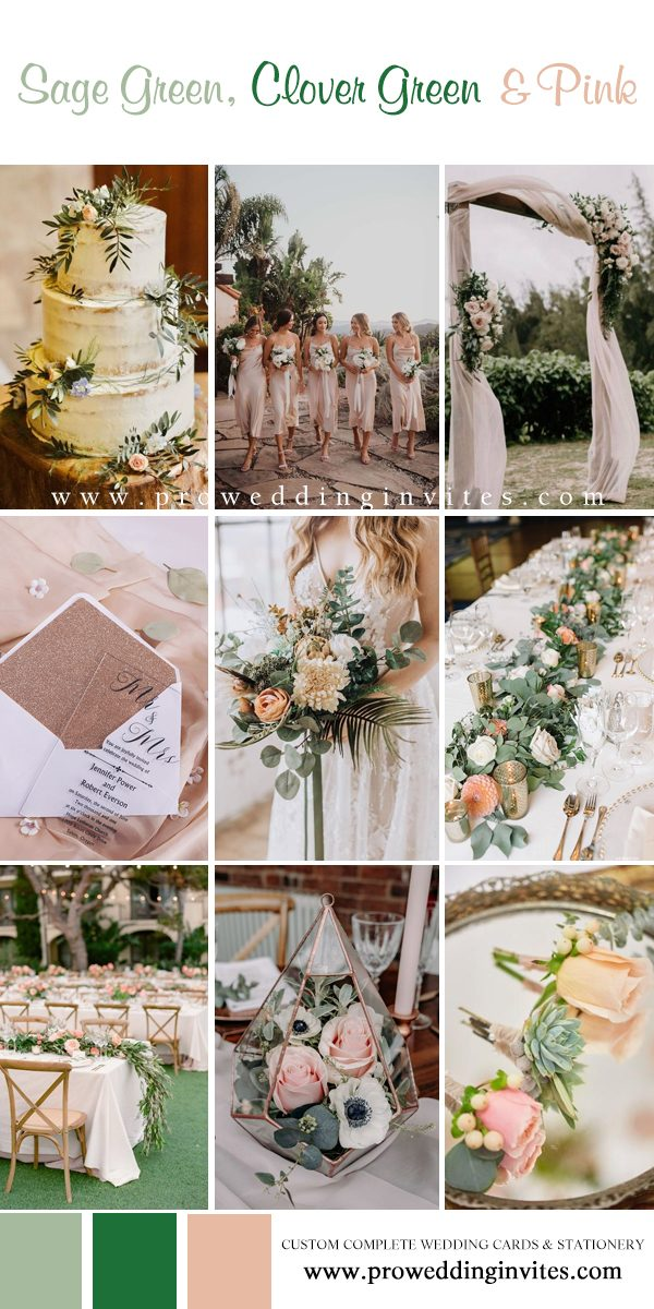 Sage green, clover green and pink wedding colors