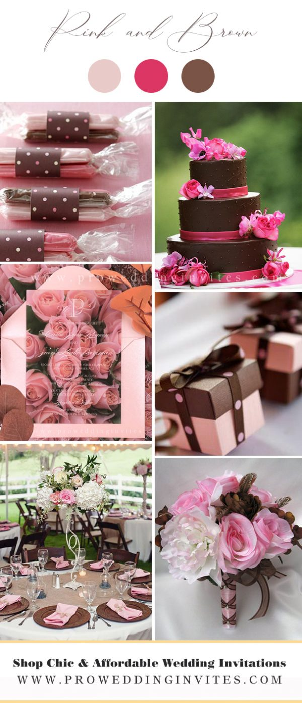 Pink and Brown Wedding Colors for Spring 2021