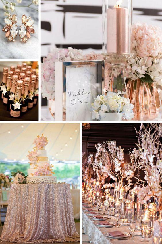 Vibrant Coral, Mint + Rose Gold wedding colors