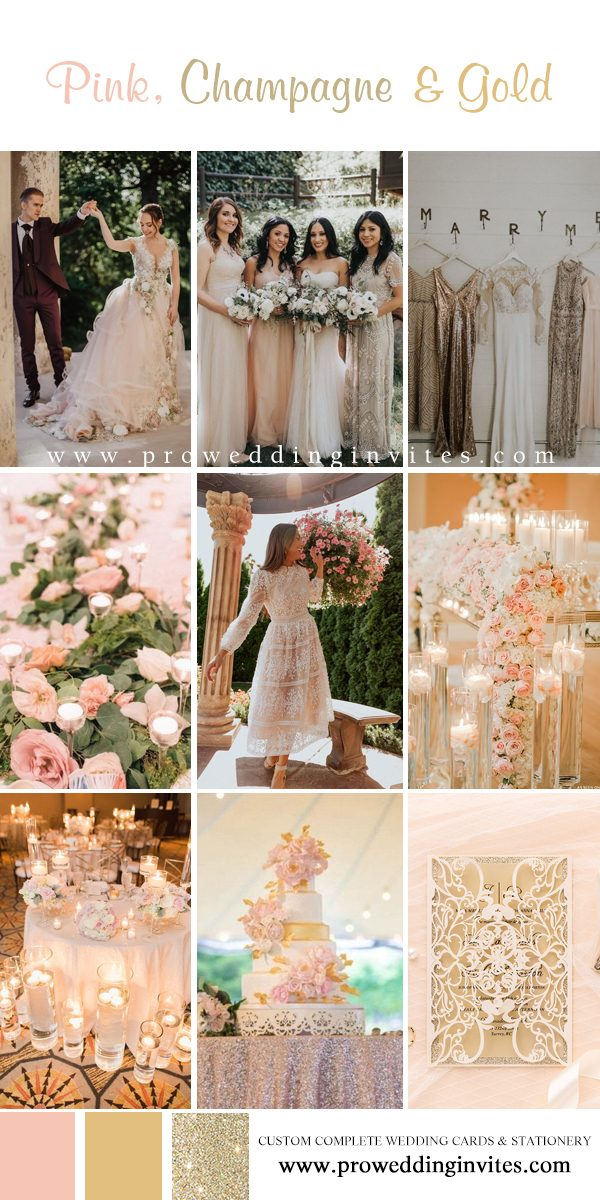 Pink and champagne color wedding colors