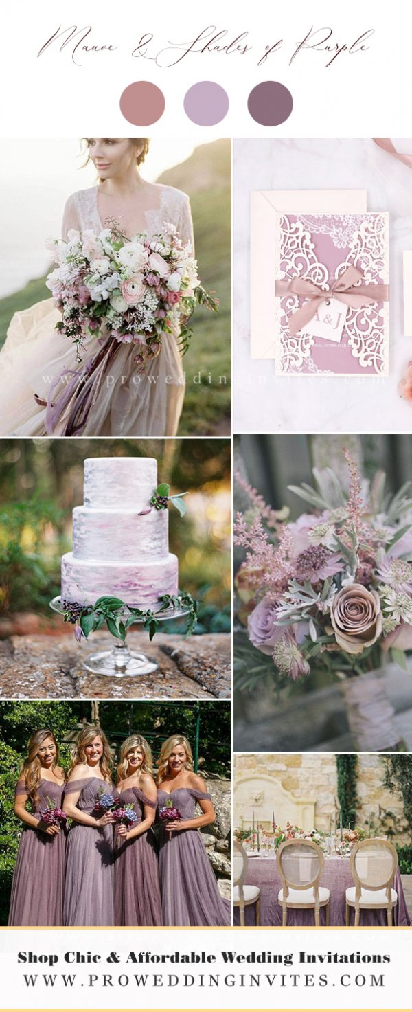 Mauve & Shades of Purple Wedding Colors