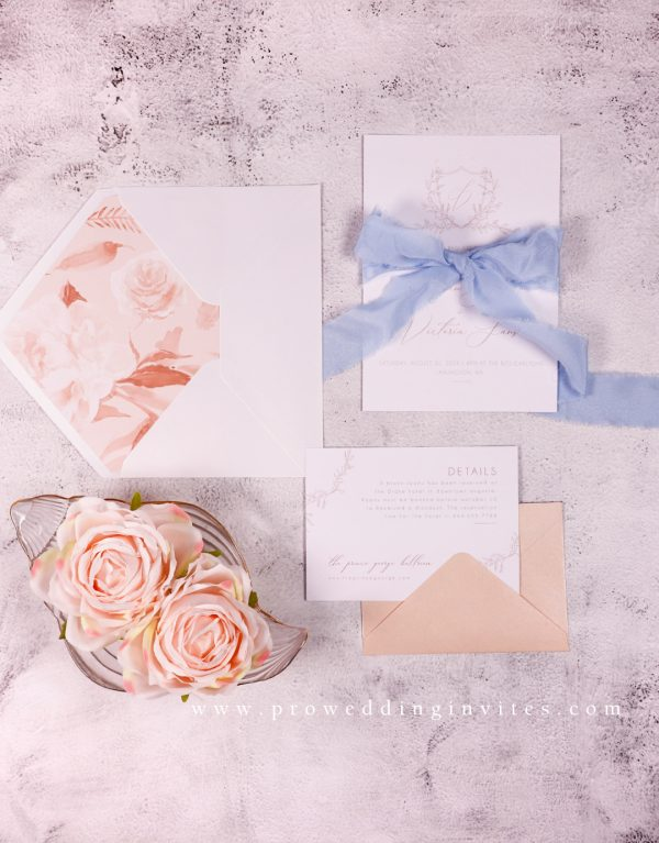 Niagara and Peach Wedding Invitations for Spring 2021