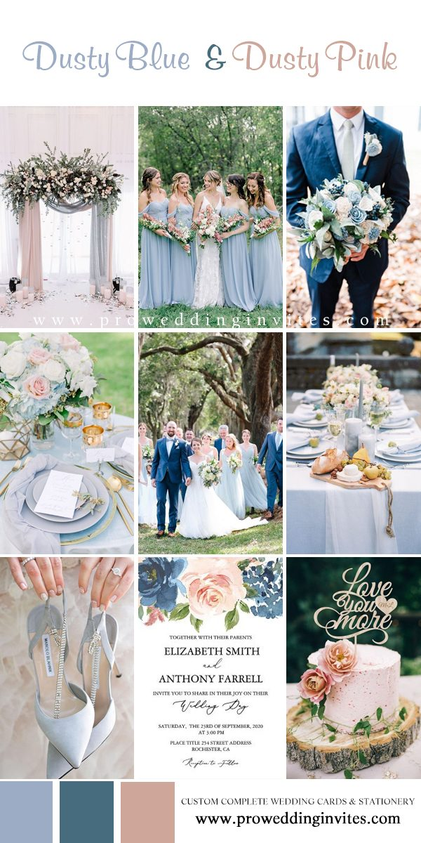 Dusty Blue and Dusty Pink color palette wedding colors