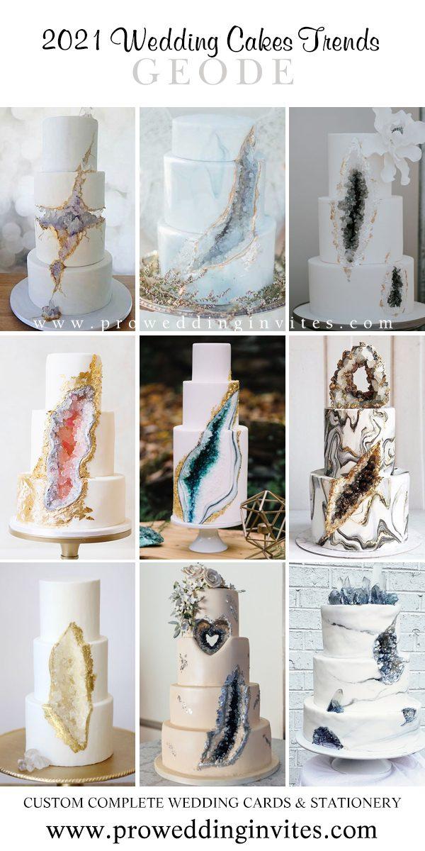 Geode mold wedding cake trends in 2021