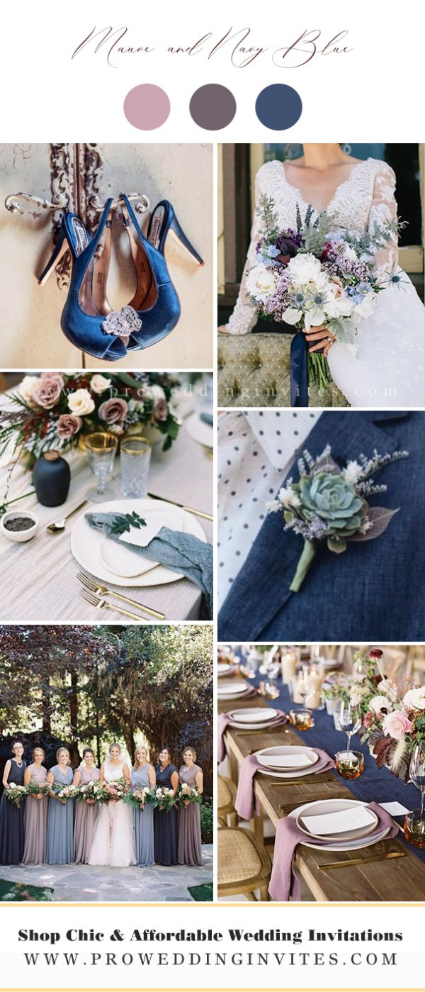 Mauve and Navy Blue Wedding Colors