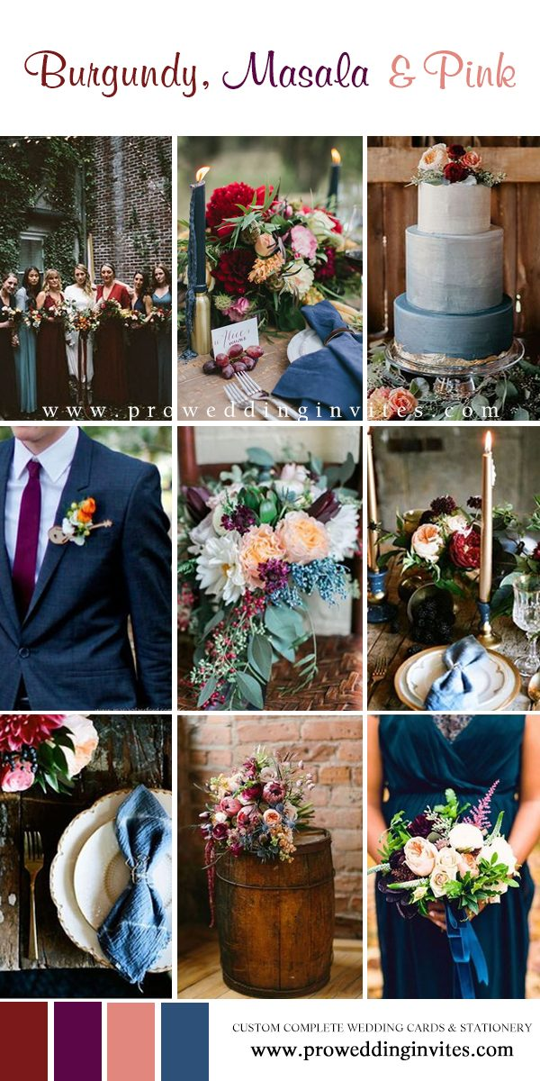 Burgundy, Masala, pink, and Blue wedding colors