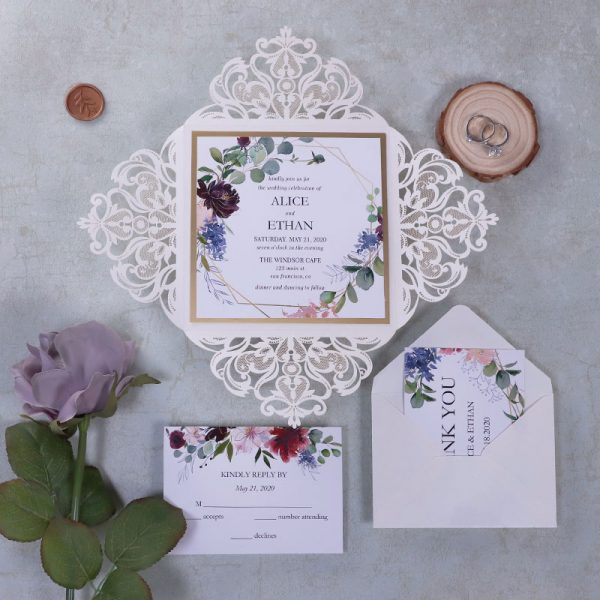 Kale Green and Gold Wedding Invites for Spring 2021