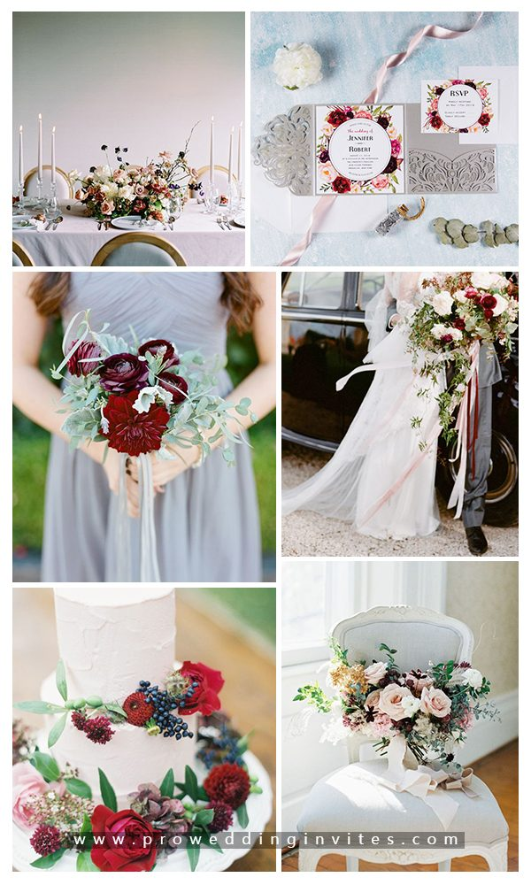 Grey, Marsala + Green Fall Wedding Color