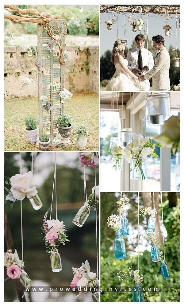 Wedding altars decorated with mason jars
