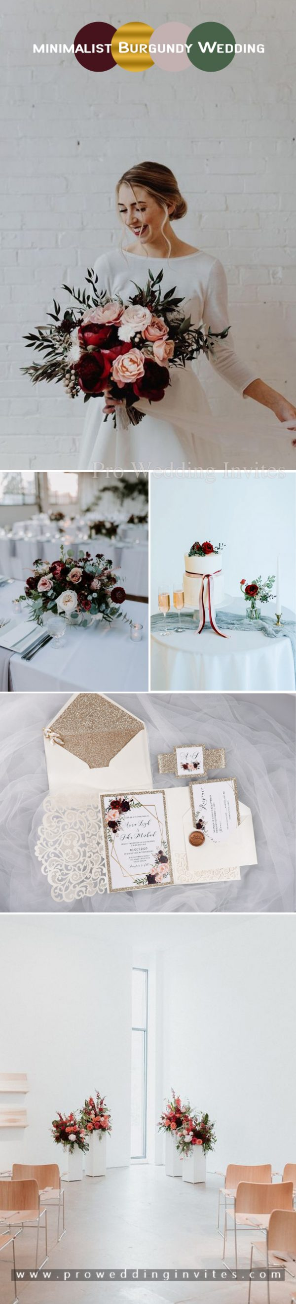 Burgundy, pink and gold minimalist style