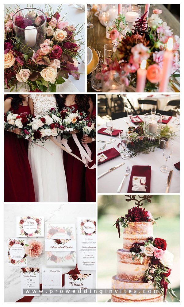 Burgundy + Peach Fall Wedding Color