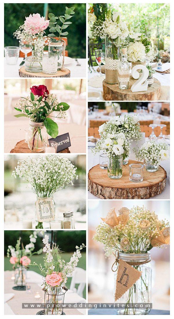Beautiful mason jar wedding centerpieces