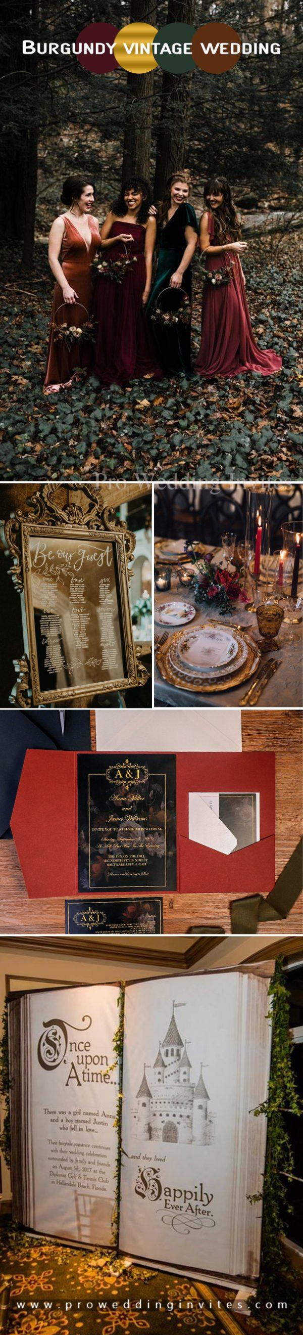 Burgundy, brown and gold vintage wedding