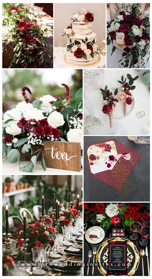 Emerald + Burgundy Fall Wedding Color