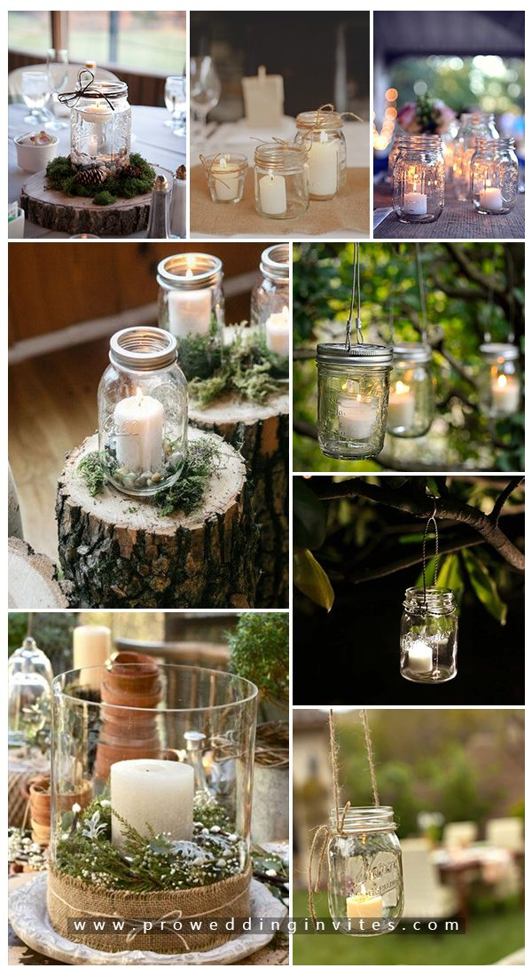 Easy DIY mason jar candle lights holders for weddings