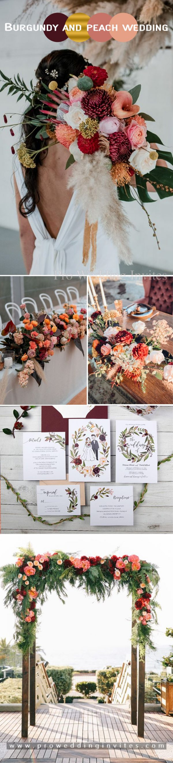 Burgundy and peach with gold accents wedding