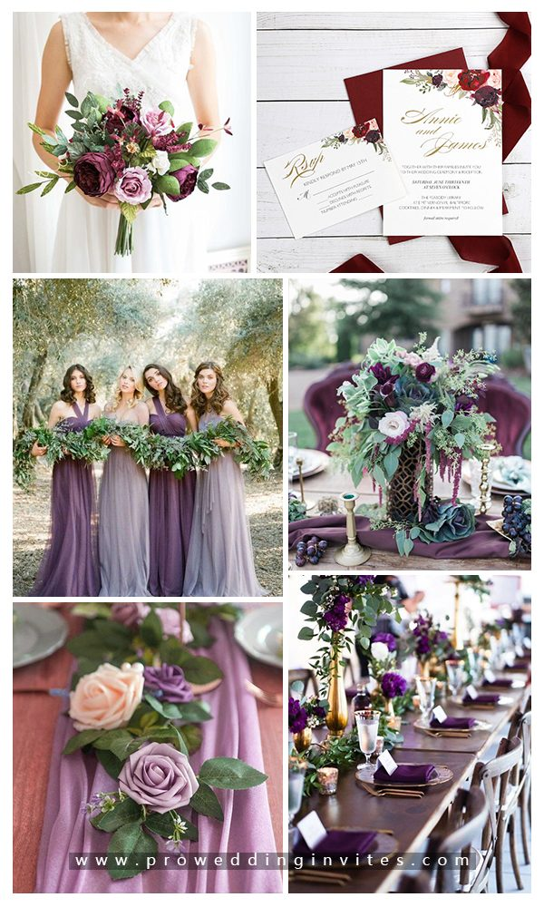 Plum, Lavender + Greenery Fall Wedding Color