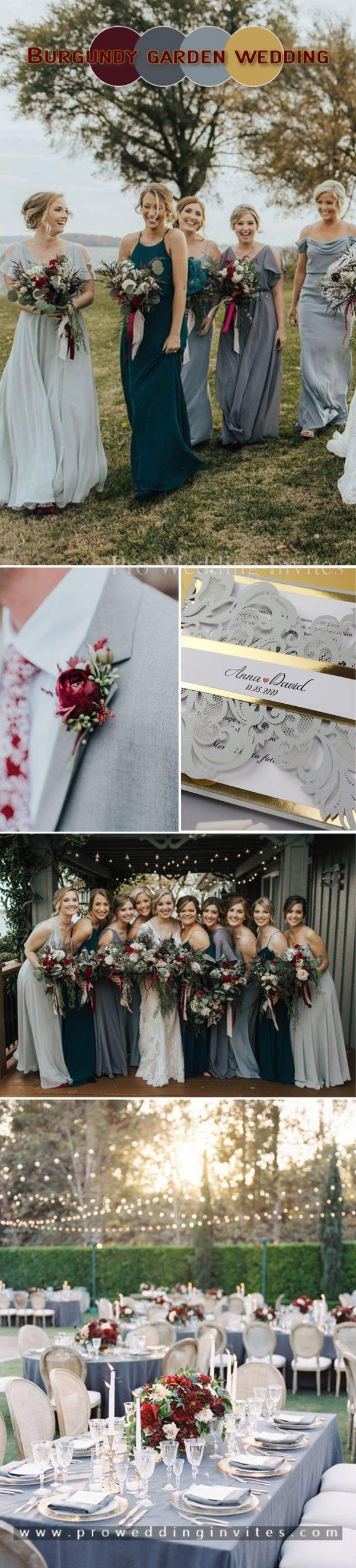 Burgundy, grey and gold garden wedding