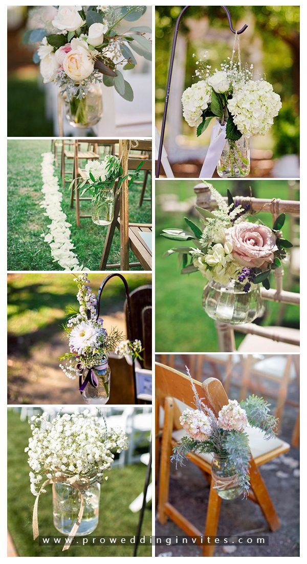 Stylish wedding ceremony aisle decor with mason jars