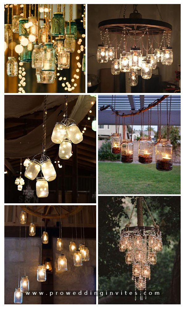Rustic mason jar chandeliers