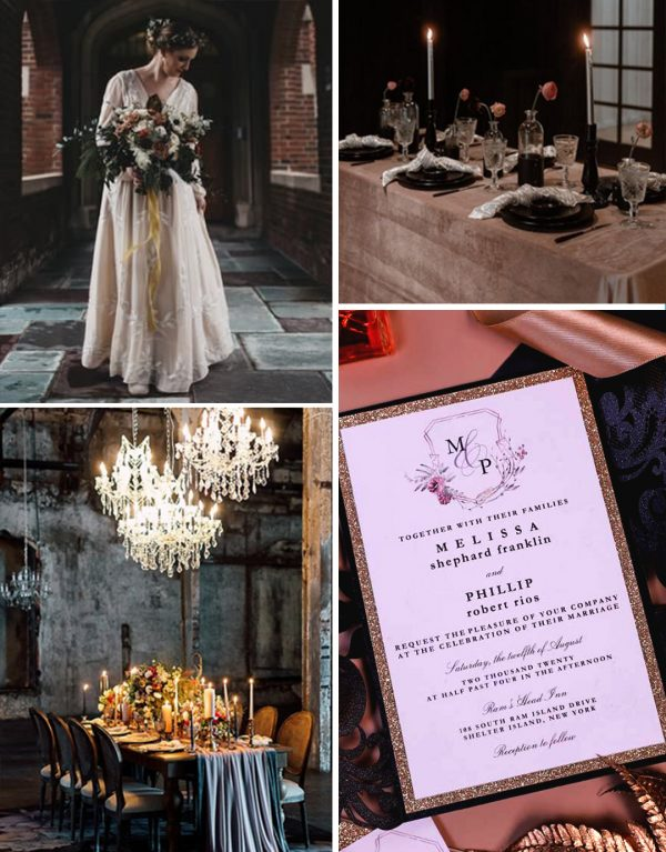 dark moody wedding themes