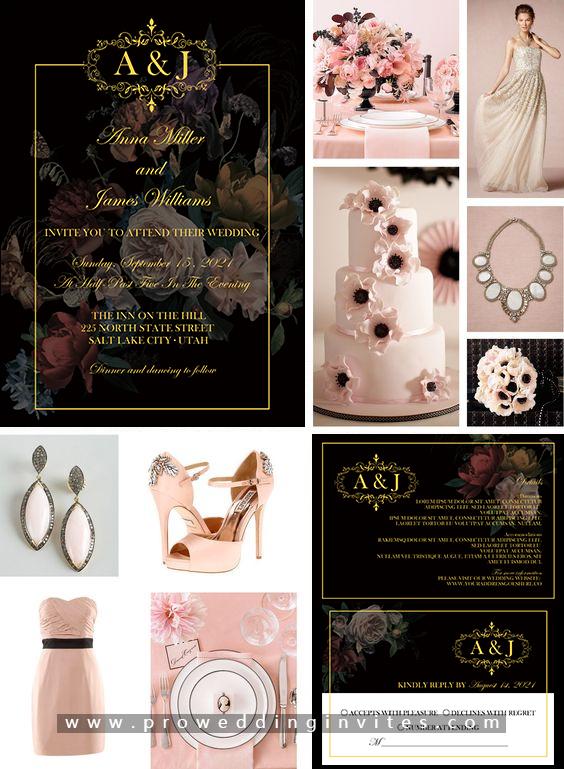 Blush Pink and Black Formal wedding
