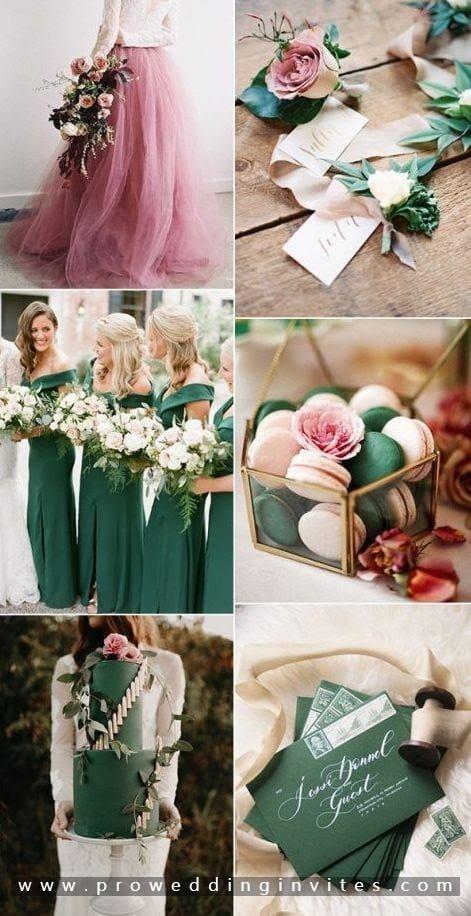 Lush green and pink yarrow kale wedding