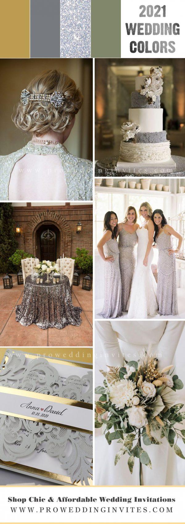 2021 Modern & Minimalist Greenery Wedding Color Palette