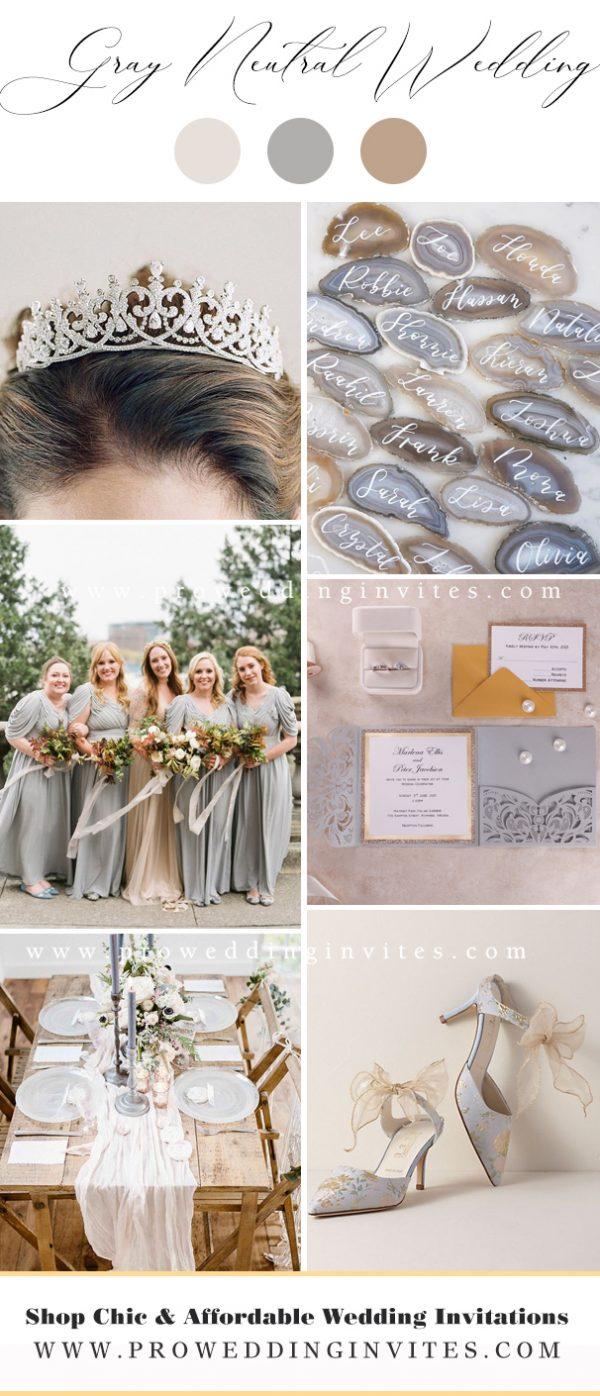 Gray popular neutral wedding colors