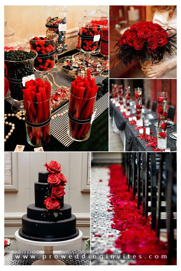 Black and red are true classics, and the pairing automatically makes you think of romance. This color combination is easy to work with and is sure to create a vibe of romance and desire.